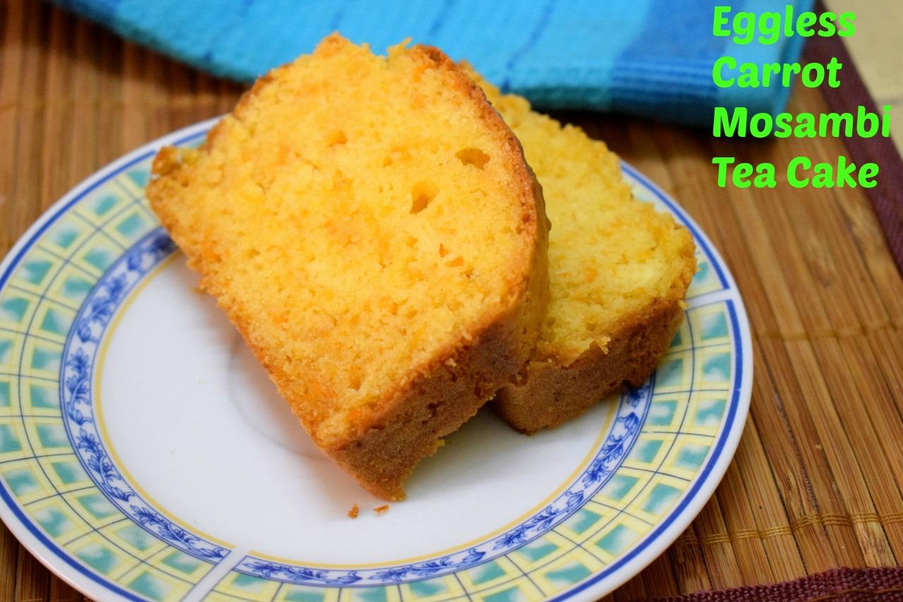 Eggless Carrot Mosambi Tea Cake