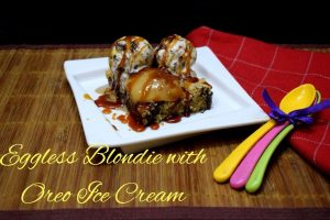 Eggless Blondie with Oreo Ice Cream